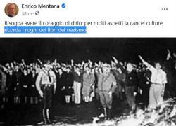 """Politically Correct, Mentana ammette: """"Ricorda i roghi dei libri del nazismo"""""""