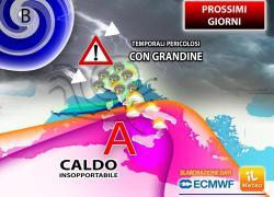 Mercoledì 4 agosto estremo, tra violenti temporali e grande caldo