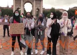 Nuovo presidio per la Palestina all'Arco della Pace di Milano, presente anche Moni Ovadia