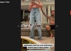 Chiara Ferragni e Fedez guardano la partita, l'esultanza per la vittoria dell'Italia