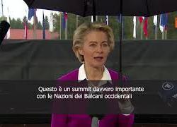 """SOTTOTITOLI Von der Leyen al summit dei Balcani occidentali: """"Siamo unica famiglia europea"""""""