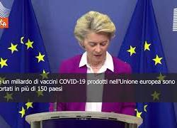 """SOTTOTITOLI, Von der Leyen: """"Esportati oltre un miliardo di vaccini prodotti in Ue"""""""