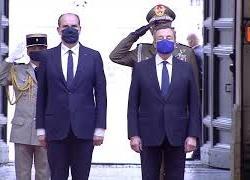 Draghi accoglie il Primo Ministro della Repubblica Francese Castex a Palazzo Chigi